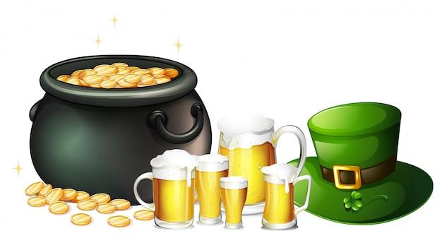 聖パトリックの日のための新鮮なビールと金の鍋 無料ベクター