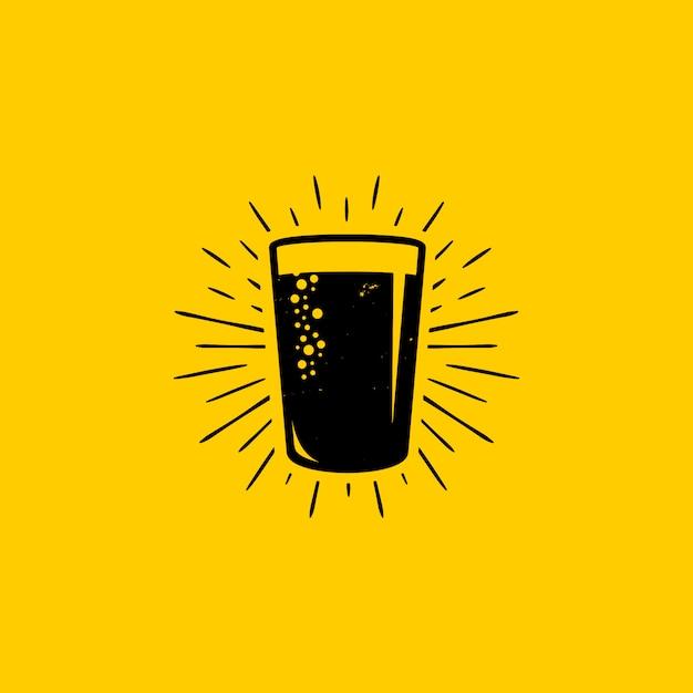 Fresh beer glass logo design Premium Vector