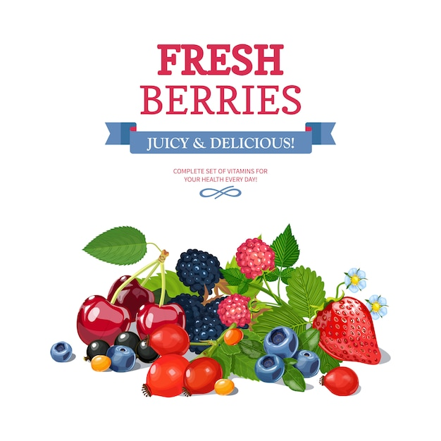 Fresh berries background ad background poster Free Vector