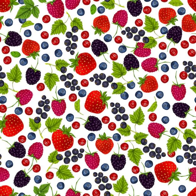 Fresh berries seamless pattern Free Vector