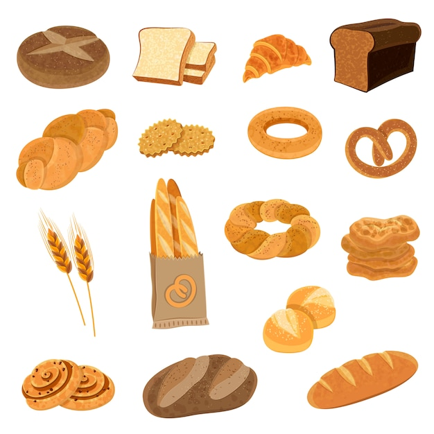 Fresh bread flat icons set Free Vector