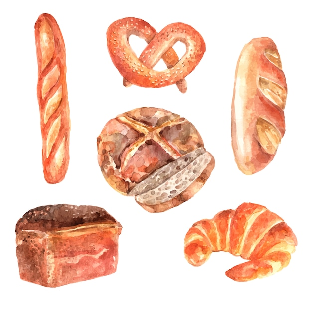 Fresh breads bakery advertisement watercolor pictograms collection of baguette Free Vector