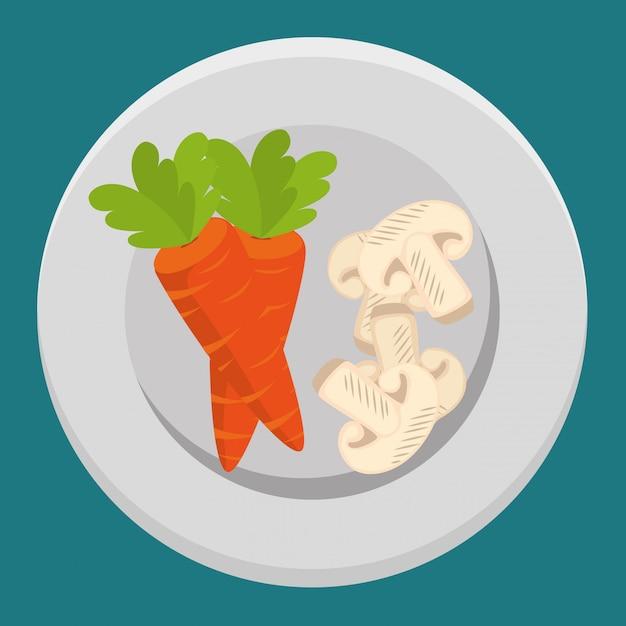 Свежие морковные и грибные овощи Бесплатные векторы