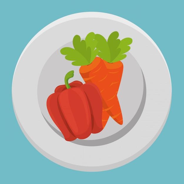 Свежие овощи моркови и перца Бесплатные векторы