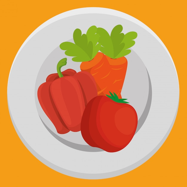 Fresh carrot and pepper with tomato vegetables Free Vector