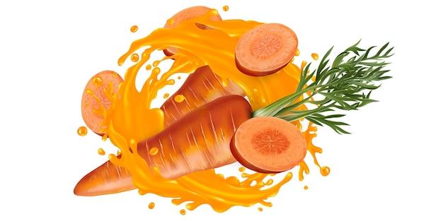 新鮮なニンジンと白い背景の上の野菜ジュースのスプラッシュ。 Premiumベクター