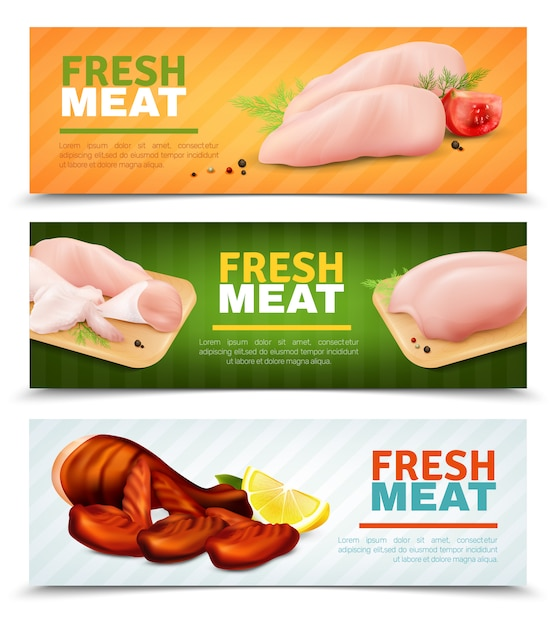 Fresh chicken meat horizontal banners Free Vector