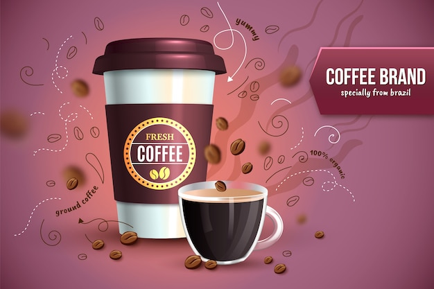 Fresh coffee ad Free Vector