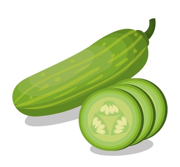 Fresh cucumber vegetable isolated icon Premium Vector