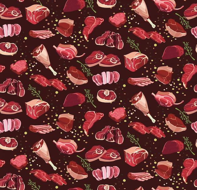 新鮮な牛肉のカットのシームレスパターン 無料ベクター