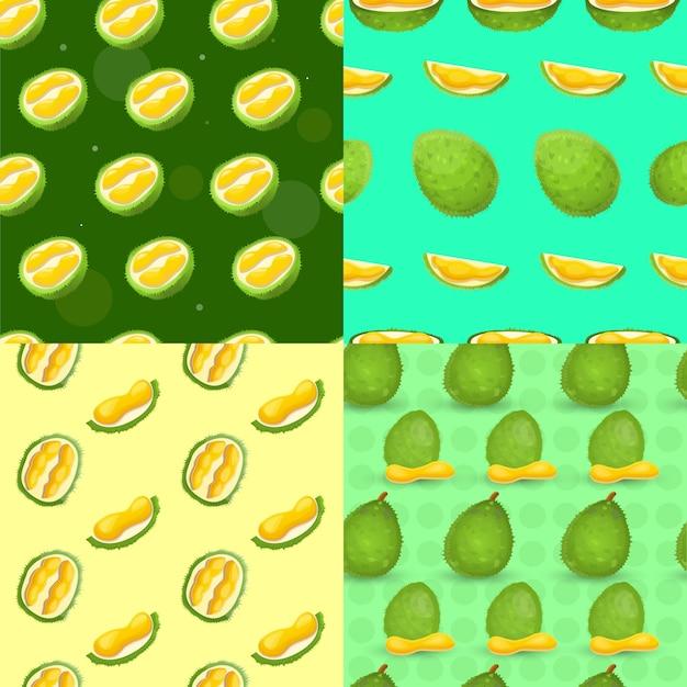 Fresh durian seamless pattern set, cartoon style Premium Vector