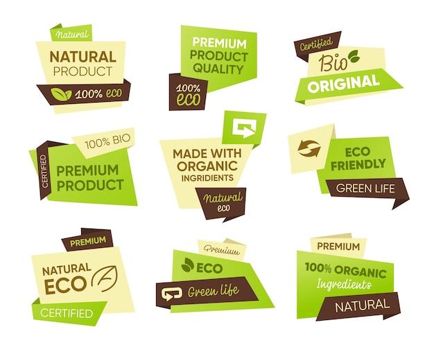 新鮮なエコ食品タグセット。自然、バイオ、オーガニック製品のテキストサンプルを含むステッカー。健康食品のエンブレム、ファームマーケット、ビーガン、ベジタリアンダイエット用のバッジテンプレート 無料ベクター