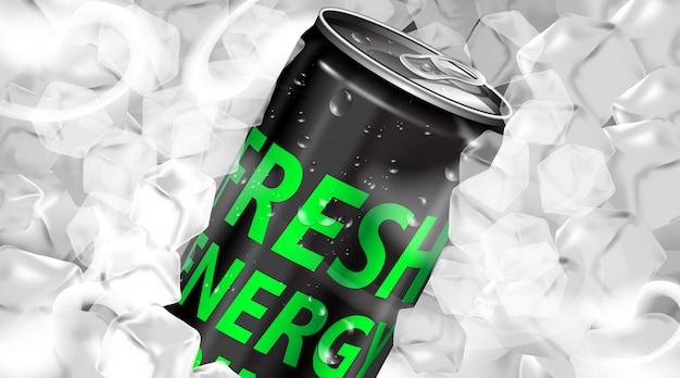 アイスキューブが付いている缶の新鮮なエネルギー飲み物 Premiumベクター