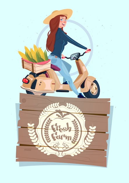 Fresh farm logo banner with female farmer on electric scooter transport with box of vegetables Premium Vector