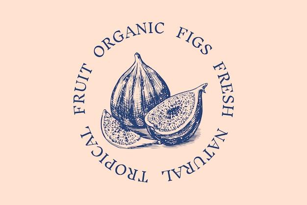 Значок свежий инжир. этикетка или логотип фруктовой листвы. нарезать кусочки. детокс-специя. Premium векторы
