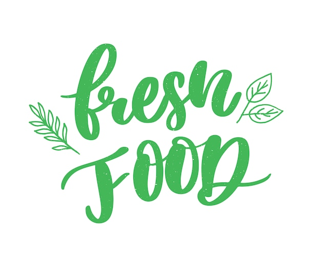 Fresh food lettering calligraphy rubber stamp green Premium Vector