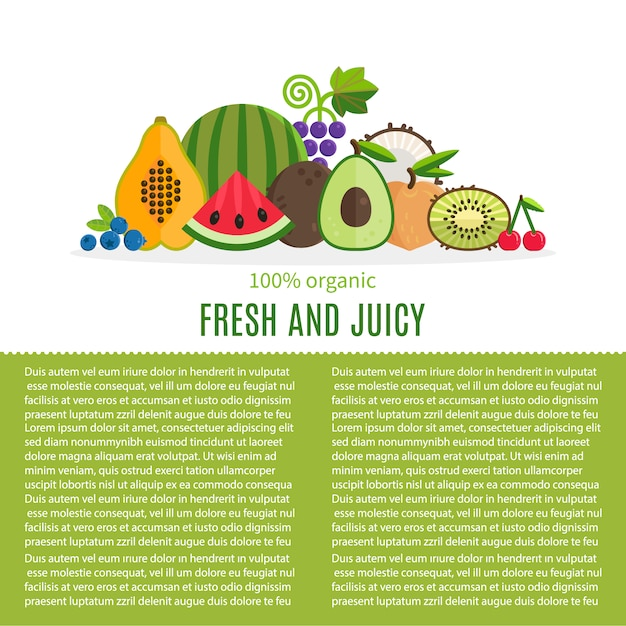 Fresh Fruit Background With Text Template Free Vector