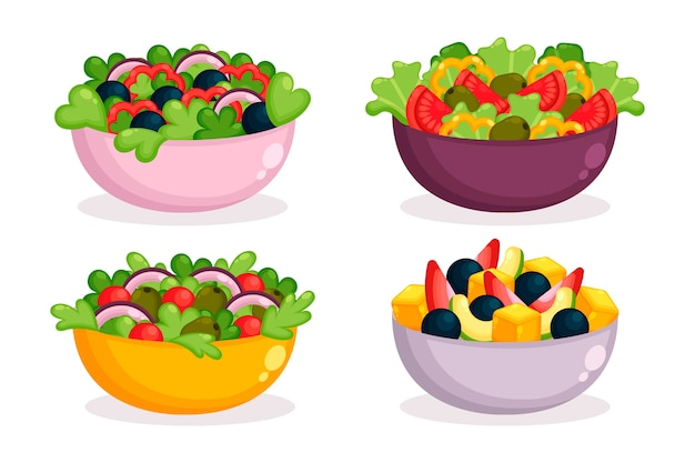 Fresh fruit salad in coloured bowls Free Vector
