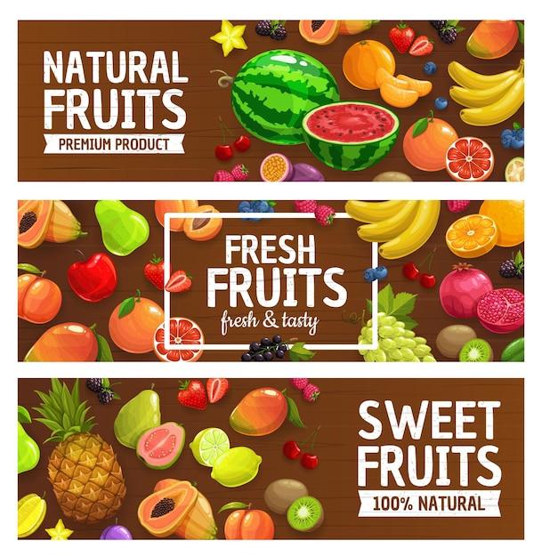新鮮な果物やベリーのイラストデザイン Premiumベクター