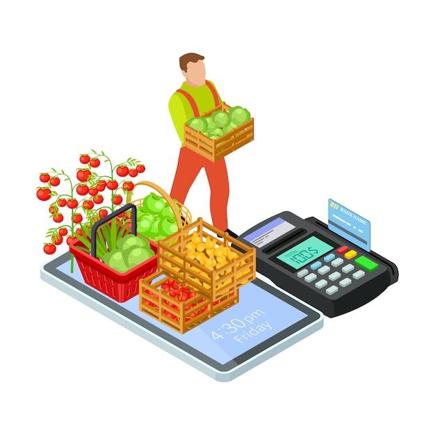 無料配信等尺性概念と新鮮な果物や野菜のオンライン市場 Premiumベクター
