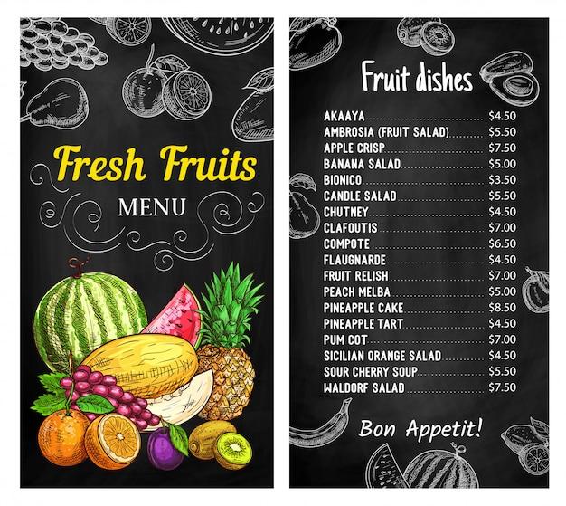 Шаблон меню доске свежие фрукты Premium векторы