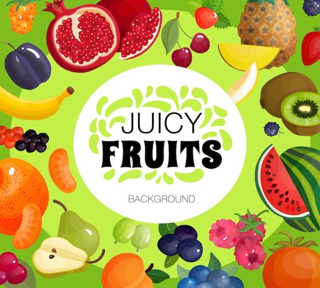Fresh fruits frame background poster Free Vector