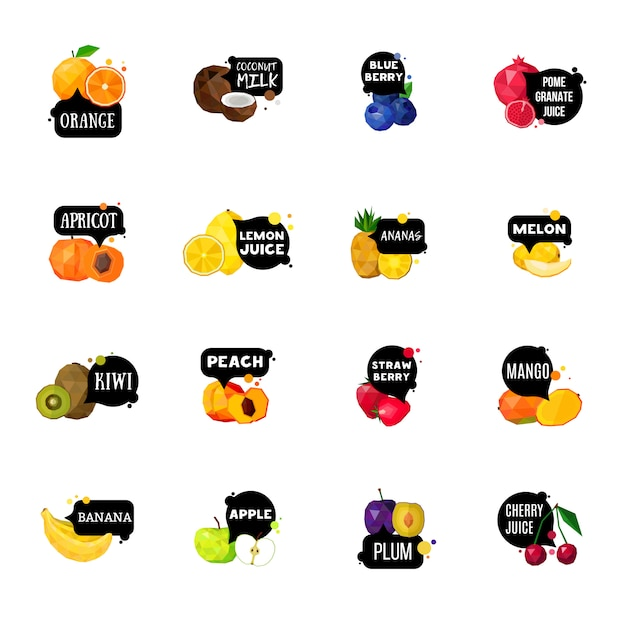 Fresh fruits labels polygonal icons collection Premium Vector