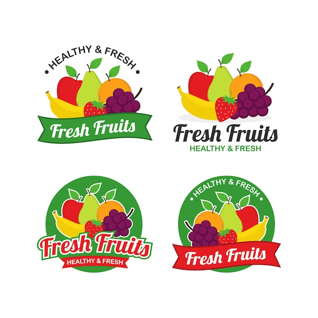 Fresh fruits logo design vector Premium Vector