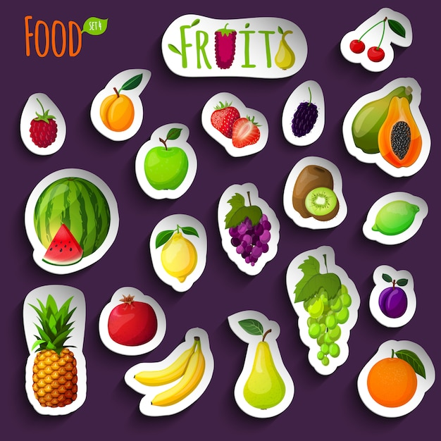 Fresh fruits stickers illustration Free Vector