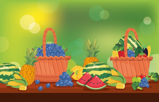 Fresh fruits and vegetables in basket table Premium Vector