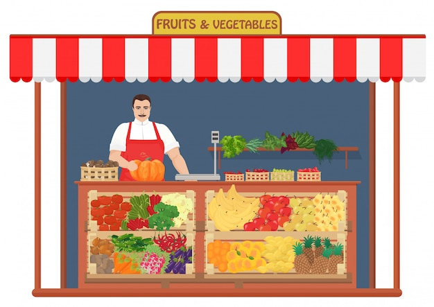Fresh fruits and vegetables store Premium Vector