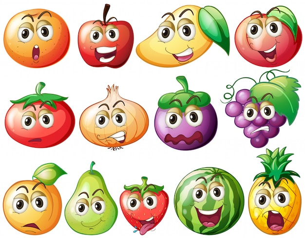 Fresh fruits and vegetables with face Free Vector