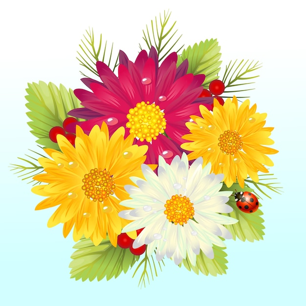 Fresh gerbera daisy flower arragement Premium Vector