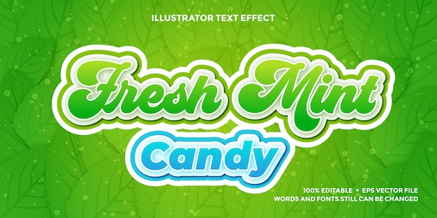 Fresh green and blue text effect design  templates editable Premium Vector