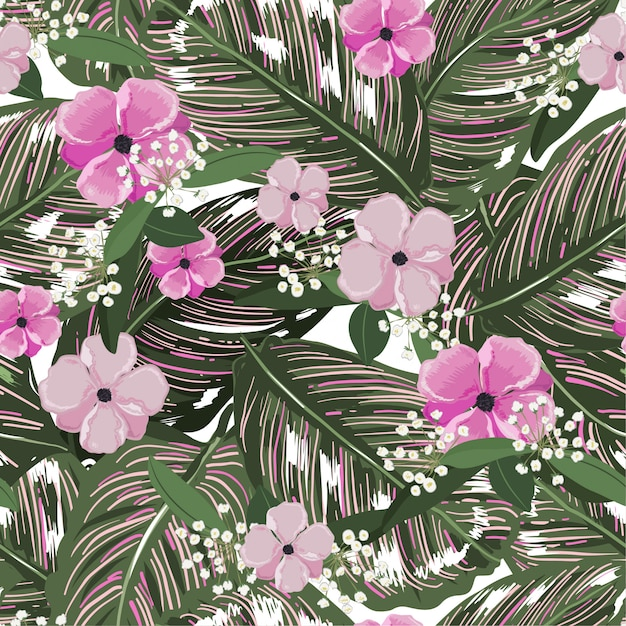 Fresh green tropical leaves, with flower background. floral seamless pattern in vector. greenery tropical illustration. paradise nature design Premium Vector