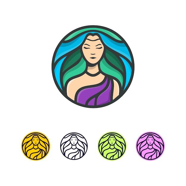 Fresh hair logo Premium Vector