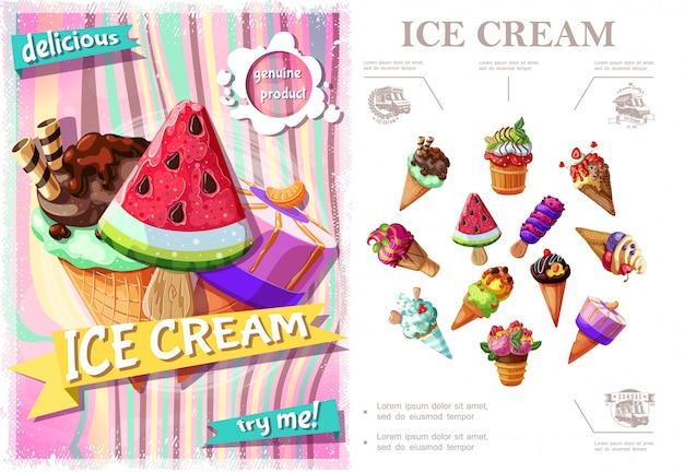 Fresh ice cream colorful concept with icecreams of different sorts and flavors in cartoon style Free Vector