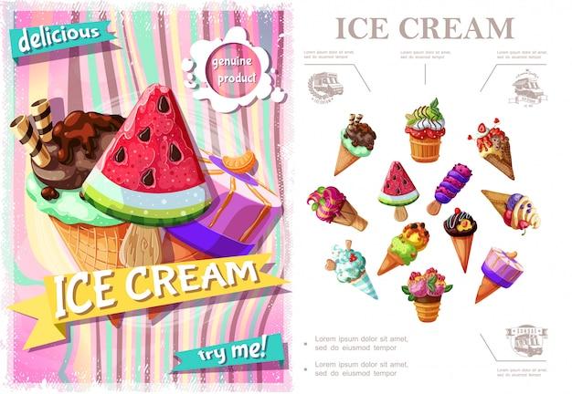 Красочная концепция свежего мороженого с мороженым разных сортов и вкусов в мультяшном стиле Бесплатные векторы