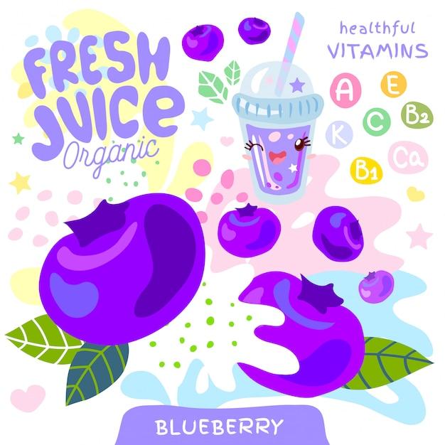 Свежий сок органического стекла мило каваи персонаж. стиль детей абстрактного сочного витамина плодоовощ выплеска смешной. черника ягодный ягодный йогурт смузи кубок. иллюстрации. Premium векторы