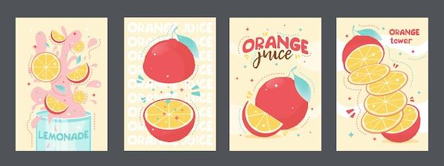 フレッシュジュースの熱帯のポスターのデザイン。オレンジ、レモネード 無料ベクター