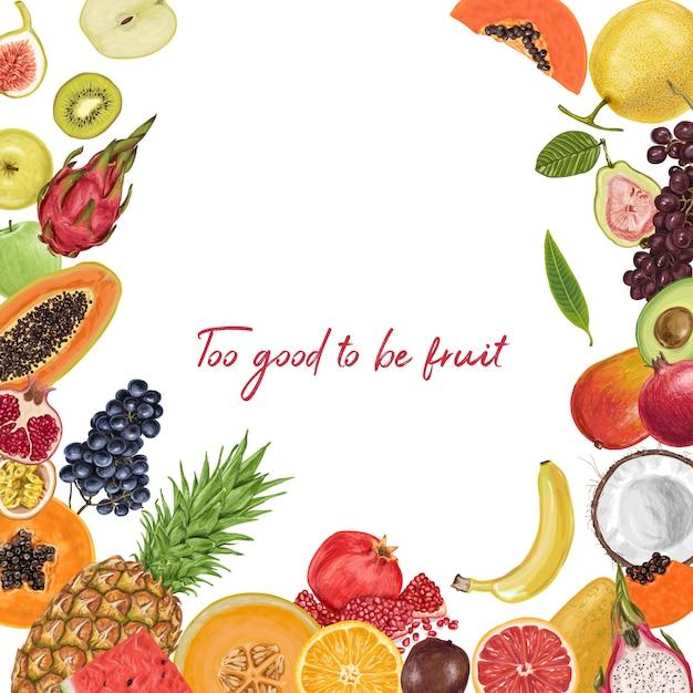 Fresh juicy fruit tropical collection Premium Vector