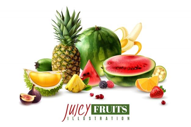 Свежие сочные фрукты целые и сервировочные кусочки дольки дольки реалистичной композиции с арбузом инжир ананас векторная иллюстрация Бесплатные векторы