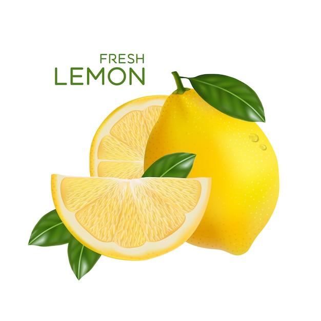 Fresh lemon fruit  isolated in flat design Premium Vector