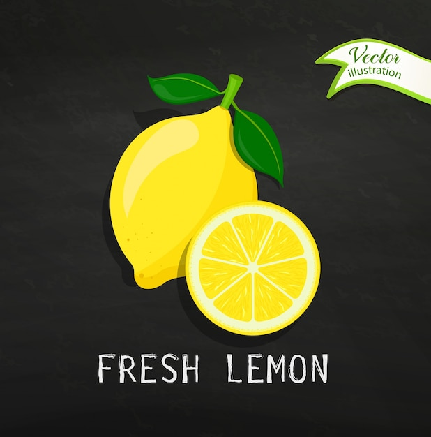 Fresh lemon, vector. Premium Vector