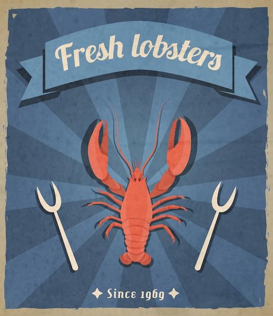 Fresh lobsters retro illustration Free Vector