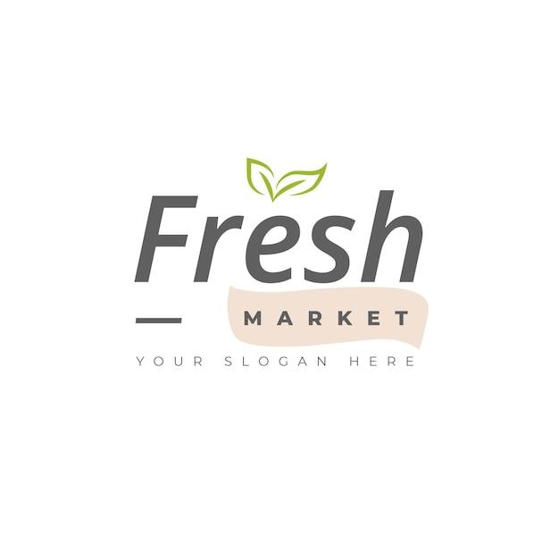 Свежий шаблон логотипа с листьями Бесплатные векторы