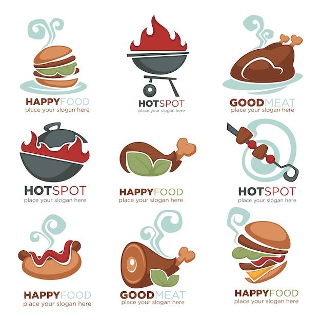 신선한 고기, 바베큐, 쇠고기, 닭고기, 칠면조 메뉴, 로고, 라벨, 엠블럼 컬렉션 프리미엄 벡터