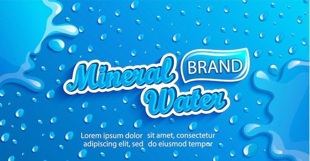 Fresh mineral water banner with drops and splash. Premium Vector