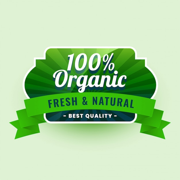 Fresh and natural 100% organic food label sticker Free Vector