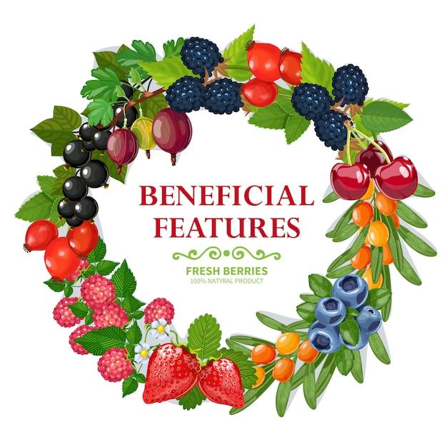 Декоративная рамка венок из свежих натуральных ягод Бесплатные векторы